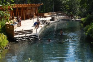 Rest your body with water at 60 degrees celsius in Liard Hor springs